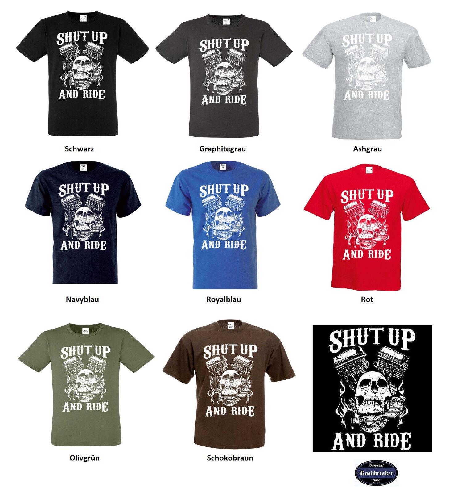 T shirt Hd Biker Chopper - schooldruck & Old schooldruck - 8 teintes modèle SHUT UP AND RIDE 00a103
