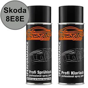 Autolack-Spraydosen-Set-Skoda-8E8E-Brilliant-Silver-Metallic-Basislack-Klarlack