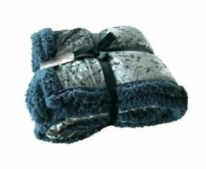 Bedding soft Touch Luxury Throw Sherpa Discounts Sale Selfless Duck Egg Gorgeous Crushed Velvet Throw 150x200cm