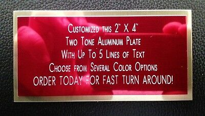 """Engraved Plate 2""""x4"""" Custom TWO TONE Name Plate Tag Plaque Art Label Gift"""