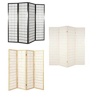 Shoji 4 Panel Hinged Room Divider Screens Natural Dark Brown or