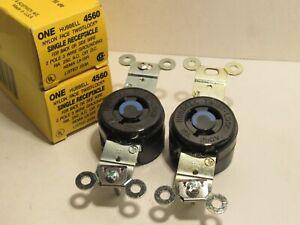 LOT OF 5 HUBBELL HBL4560 NEW 15A 250V TWIST-LOCK RECEPTACLES 2P 3W GRND HBL4560