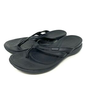 Crocs Womens Capri Basic Strappy Flip Flop Sandals Black Leather Slip Ons Size 6