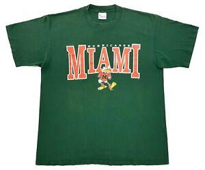 Vintage University of Miami Hurricanes Tee Green Size XL Single Stitch T-Shirt