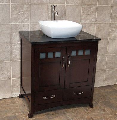 30 Quot Bathroom Vanity 30 Inch Cabinet Black Granite Top Vessel Sink T9 613617699972 Ebay