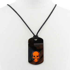 Lucien-Pellat-Finet-Silver-Neon-Orange-Skull-Dog-Tag-Pendant-Necklace