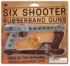 2-teilige SIX SHOOTER Rubberband GUNS / Gimmiband Pistolen
