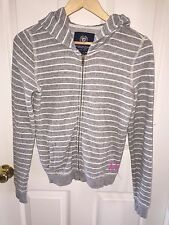 USED AMERICAN EAGLE WOMEN'S HOODIE JACKET S SMALL SO CUTE GRAY WHITE STRIPED