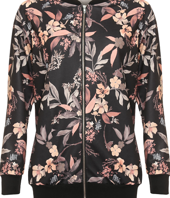 New Womens Plus Size Black Floral Print Lightweight Long Sleeve Bomber Jacket