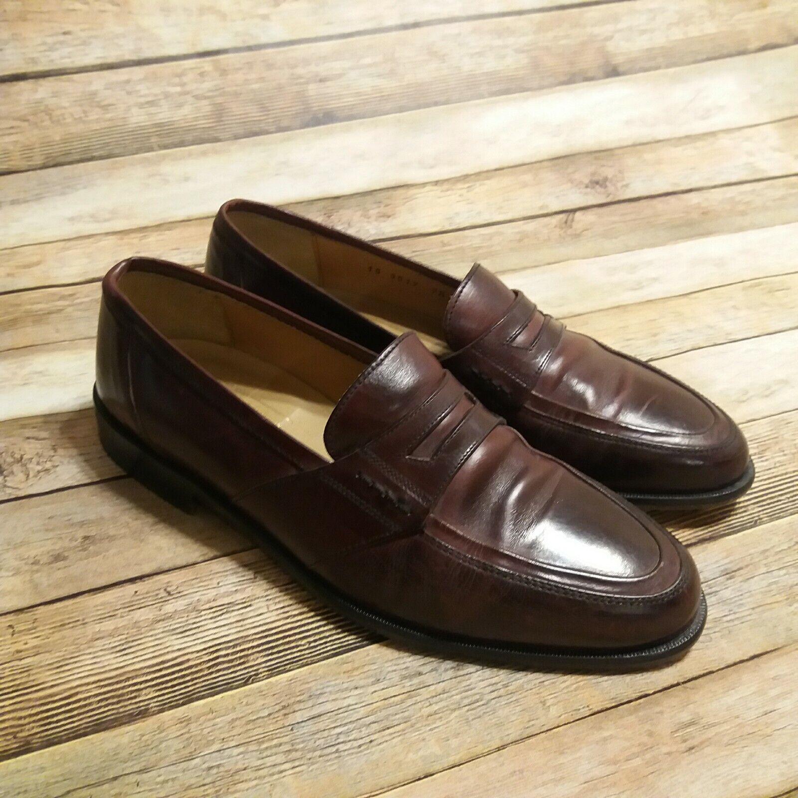 Johnston Murphy Cellini Men Loafer Slip on Leather Size 7.5 M Maroon Color