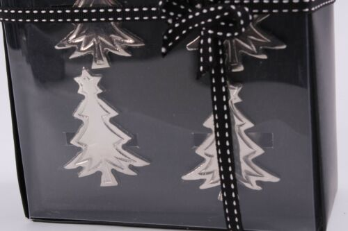 Christmas Tree Napkin Rings Metal Set of 4 New Made in India Gift Boxed