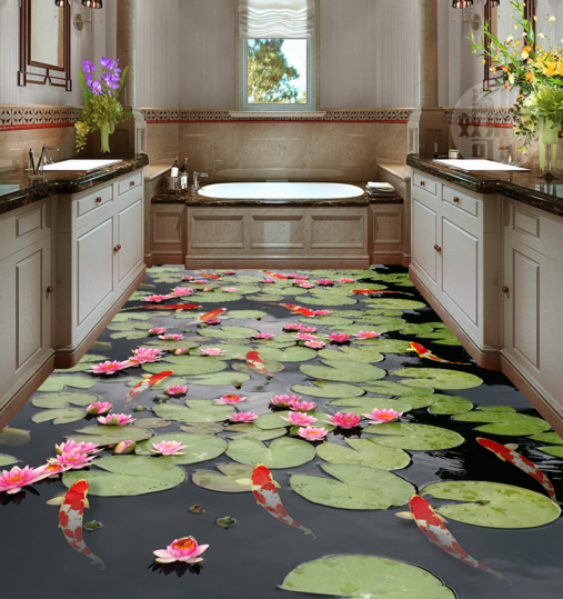 3D Lotus Koi Pond 59 Floor WallPaper Murals Wall Print Decal AJ WALLPAPER Summer
