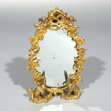 Antique FrenchGilded Bronze Footed Mirror, Angels, Cherubs, Greyhounds, Dogs