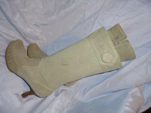 Bertie medio donna zip con ginocchio 6 scamosciata in Beige pelle da al Vgc 39 Uk Eu misura q4CHU