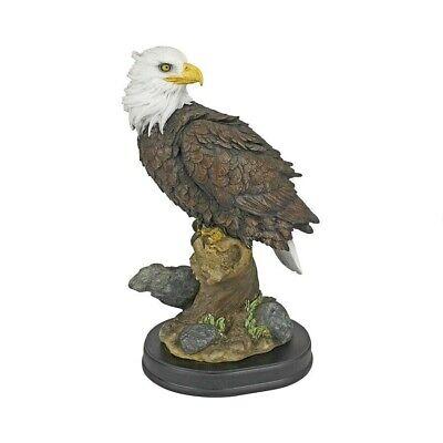 Outdoor AMERICAN BALD EAGLE WALL SCULPTURE Garden Tree Statue Patriotic Bird Art