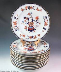 Image is loading 12-Antique-Victorian-ROYAL-WORCESTER-for-MORTLOCK-Imari- & 12 Antique Victorian ROYAL WORCESTER for MORTLOCK Imari Dinner or ...
