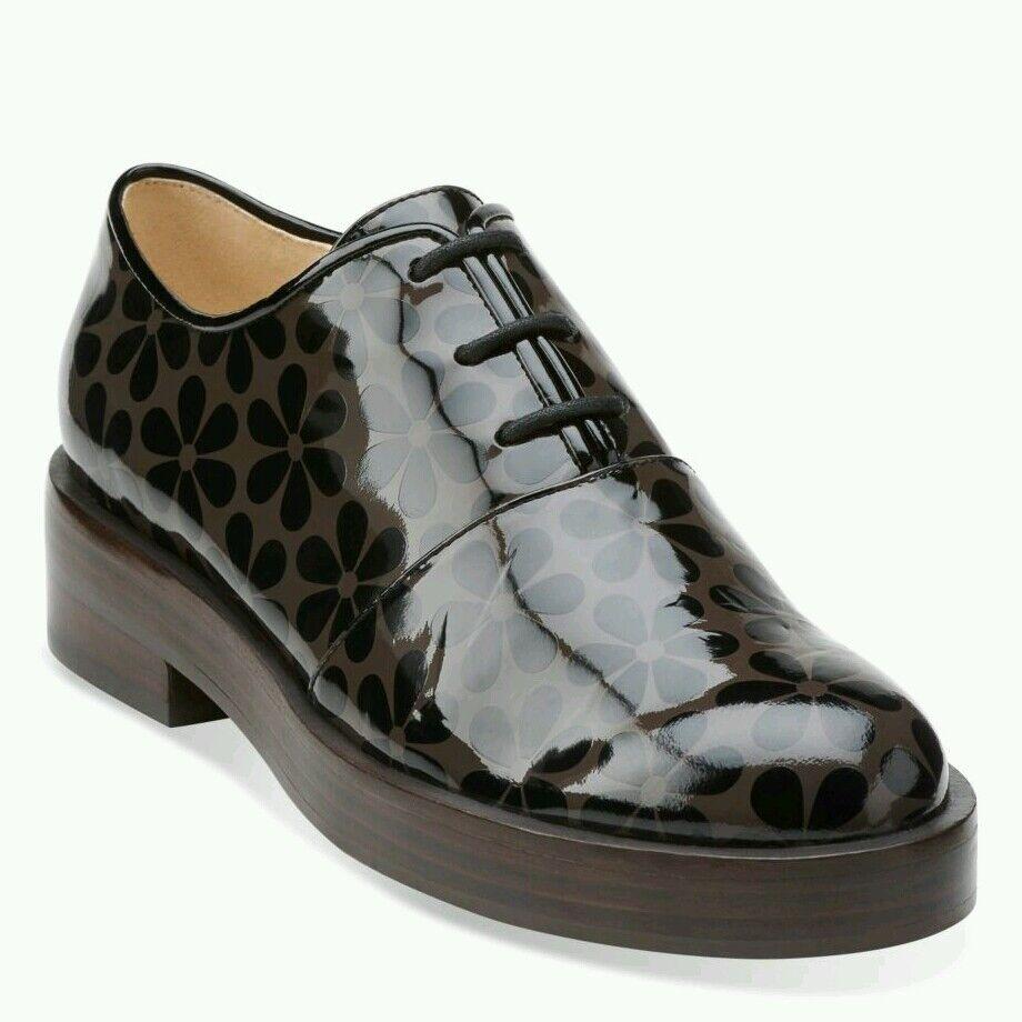 Taille 3.5 Orla Kiely Agatha Agatha Agatha Motif Fleuri Marron Cuir verni Chaussures cadeau d'anniversaire b0781c