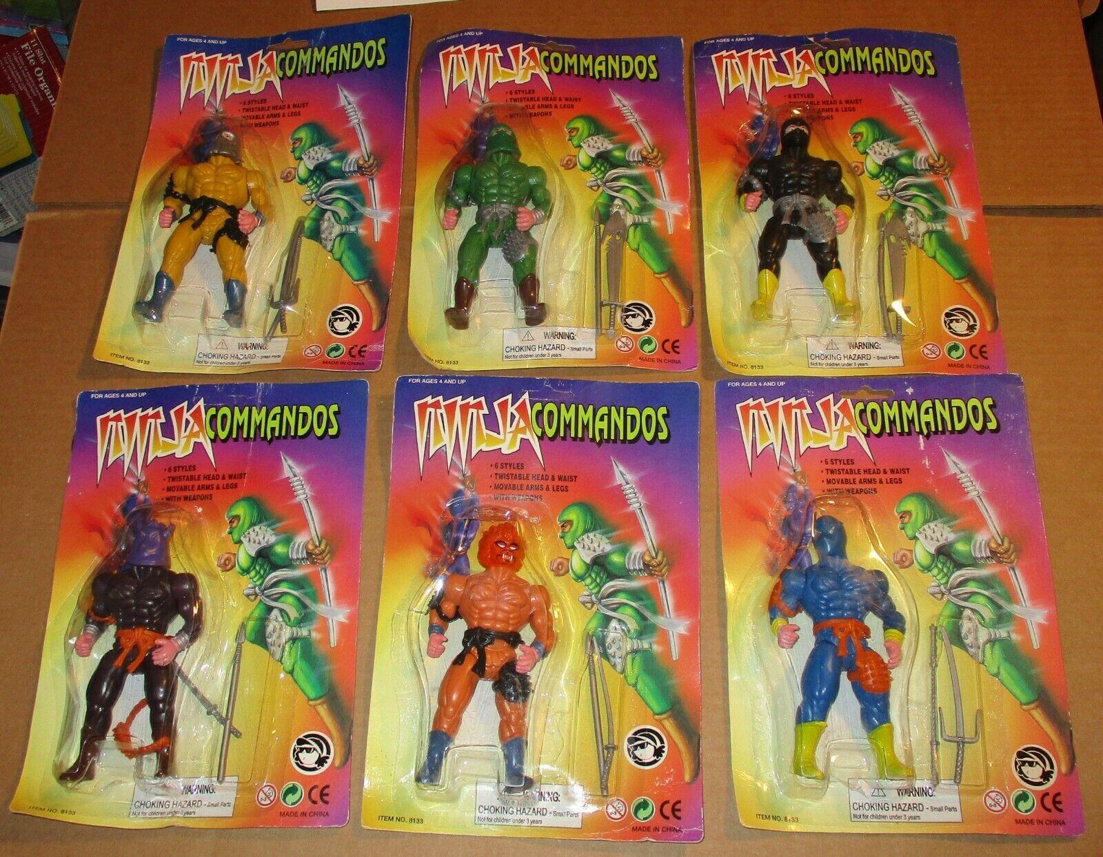 Set of 6 Ninja Commandos MOC Action Figures 1990s Sealed KO