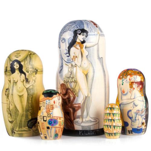 "Hand Painted Russian Matryoshka 7/"" Klimt Allegory of Sculpture Nesting Doll"