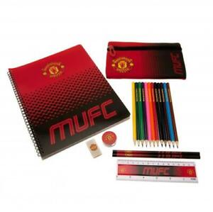 MANCHESTER UNITED 19 PIECE ULTIMATE STATIONARY SET NOTEPAD PENCIL ERASER & MORE