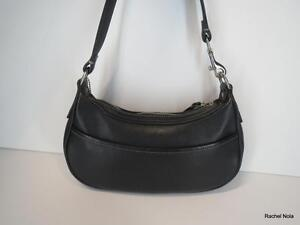 Coach-Purse-Handbag-Shoulder-Bag-Size-S-Black-Leather-Zip-Top-Wristlet-Zip-Top