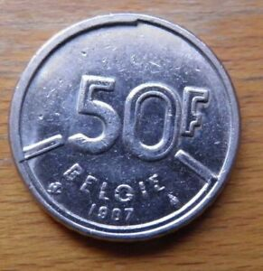 OLD-CURRENCY-Belgium-Francs-coins-1-x-50-franc-Euro-CASH-legal-tender-MONEY