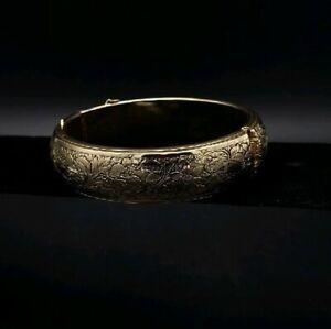 Vintage-Brass-Cuff-Bracelet-Engraved-Hinged-Beautiful