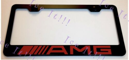 Mercedes AMG Red On Stainless Steel Black License Plate Frame Caps