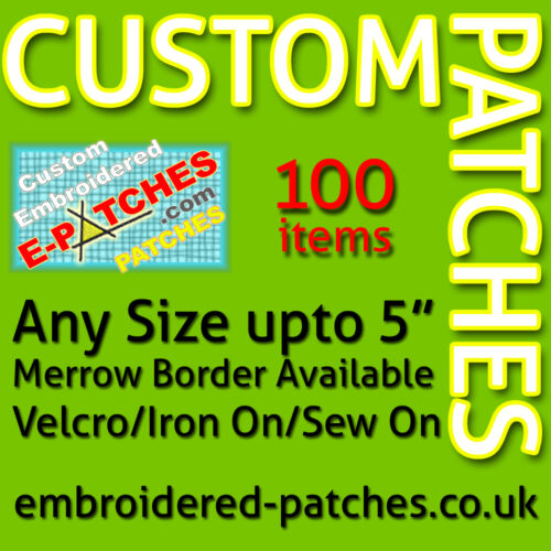 Merrow Border Any Size 100 Custom Embroidered Patches//Badges Best Quality