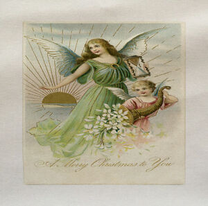 Two Angels Printed On Fabric Panel Make A Cushion Upholstery Craft