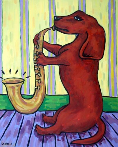 DACHSHUND playing the saxophone 4x6  dog art print artwork gift
