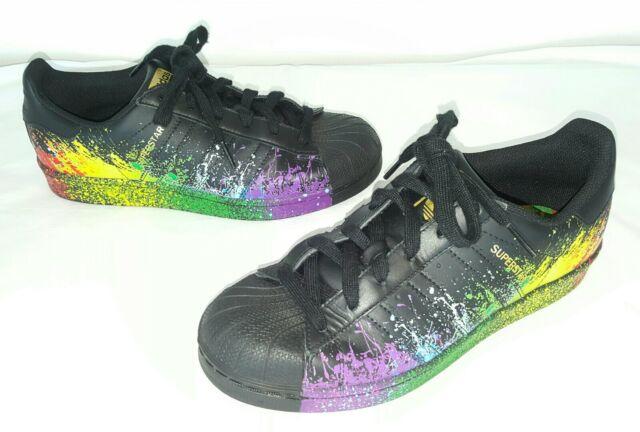 official photos 7ea61 66ce3 Adidas Originals Men's Black Superstar Pride Pack Shoes Size US 6.5 BB1687