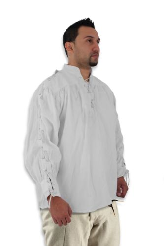 Celtic Laced Sleeves /& Neck Full Sleeves Shirt Beige Pirate Cosplay Reenactment