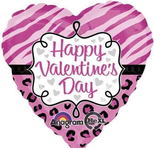"""Joyeuse Saint Valentin 18/"""" Mylar Balloon Party Rose Safari Imprimé Animal Coeur"""