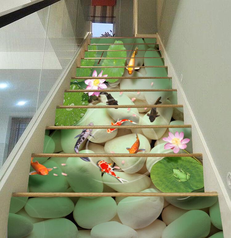 3D Stone, poissons 45 contremarches Décoration Photo Murale Autocollant Vinyle Papier Peint US