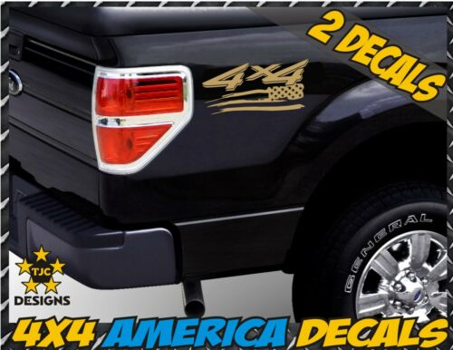 4x4 Off Road US Flag Truck Bed Decal Set METALLIC GOLD Ford F-150 Super Duty