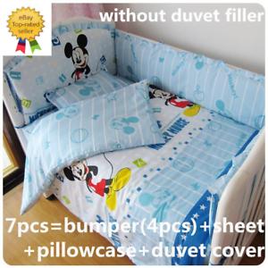 Disney Mickey Mouse Crib Sheet Baby Bedding Cot Set 6PCs Nursery Boy Girl Infant