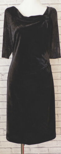UK SIZE 8-18 NEW DEBENHAMS DEBUT BLACK VELVET DRESS BARDOT