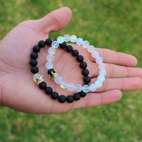 2X Couples Distance Bracelets Aura Quartz Lover Crown Men Women Bracelets Gifts