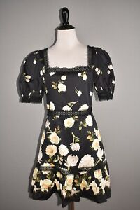 ALICE-OLIVIA-NEW-440-Wylie-Floral-Square-Neck-Puff-Sleeve-Dress-Size-6
