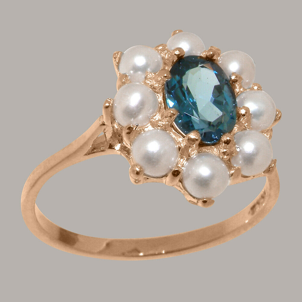 Solid 14ct pink gold Natural London bluee Topaz & Full Pearl Womens Cluster Ring