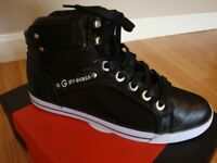 By Guess Opall5 High Top Sneakers Coated Fabric Black/silver Shoes 9.5