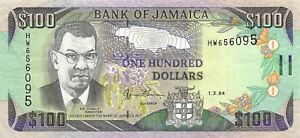 Paper Money: World Collection Here Jamaica $100 1.3.1994 Series Hw Circulated Banknote Lbj29 Wide Varieties Coins & Paper Money