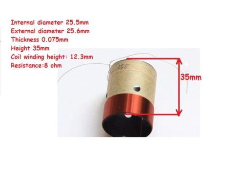 1 pc of 25.5mm H:35mm Black Aluminous Bass Woofer Speaker Voice Coil 8Ohm