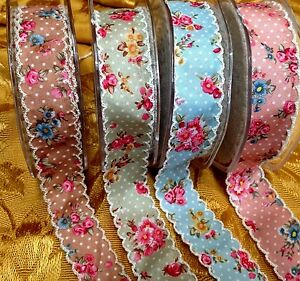 """Cabbage Rose Polka Dots Scalloped 7/8"""" Ribbon Trim 1yd Made in France"""