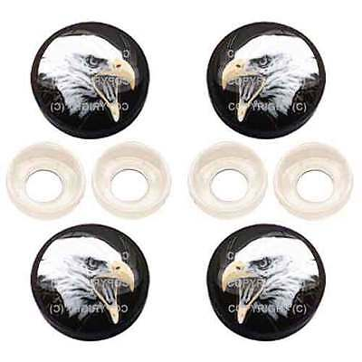 4 Chrome Custom License Plate Frame Screw Snap Caps Covers Red #1 Eagle Free