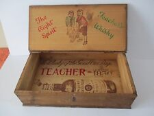 VINTAGE TEACHER'S WHISKY PINE BOX - THE RIGHT SPIRIT - BOYS PLAYING CRICKET