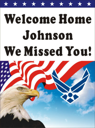 3ftX4ft Custom Personalized Welcome Home Airman US Air Force Banner Eagle BG