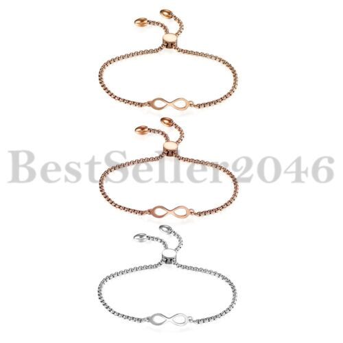 Polonaise en acier inoxydable charme Love Infinity Bracelet librement Réglable Chaîne Cadeau