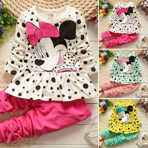 2Pcs Kids Minnie Mouse Outfit Set Girls Spotted Sweatshirt Tops Pants Tracksuit